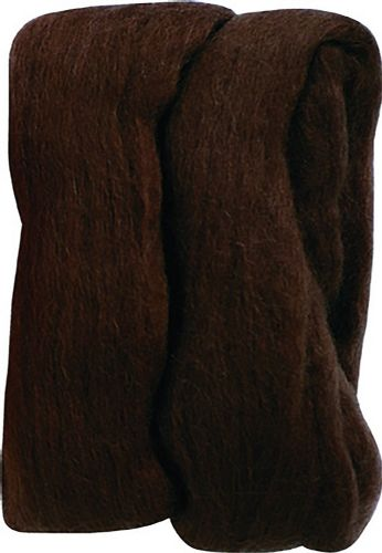 Clover 20 g 100 Percent Natural Wool Roving, Brown